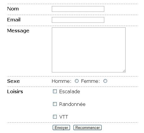 formulaire de contact HTML / CSS