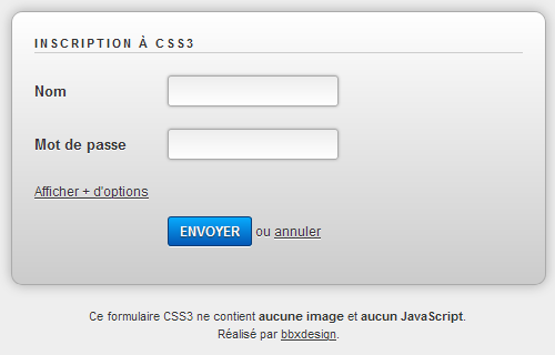 formulaire pure CSS3